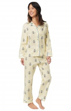 The Cat's Pajamas Women's Queen Bee Poplin Cotton Pajama Set in Honey