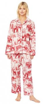 The Cat's Pajamas Women's Safari Toile Luxe Pima Cotton Classic Pajama Set in Red