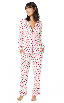 The Cat's Pajamas Women's Red Sprinkle Dots Pima Knit Classic Pajama Set