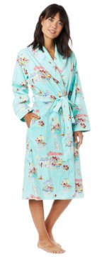 The Cat's Pajamas Women's Flower Cart Flannel Robe in Blue