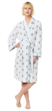 The Cat's Pajamas Women's Queen Bee Pima Knit Robe in Blue