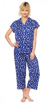 The Cat's Pajamas Women's Royal Dot Voile Capri Pajama Set