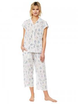 The Cat's Pajamas Women's Sanibel Luxe Pima Capri Pajama Set