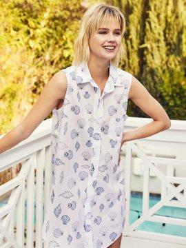 The Cat's Pajamas Women's Sanibel Luxe Pima Sleeveless Nightshirt