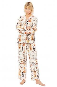 The Cat's Pajamas Women's Saucy Cat Classic Flannel Pajama Set