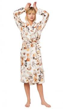 The Cat's Pajamas Women's Saucy Cat Flannel Robe