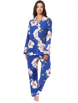 The Cat's Pajamas Women's Savannah Blue Pima Flannel Classic Pajama Set