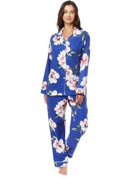 The Cat's Pajamas Women's Savannah Blue Pima Flannel Classic Pajama Set