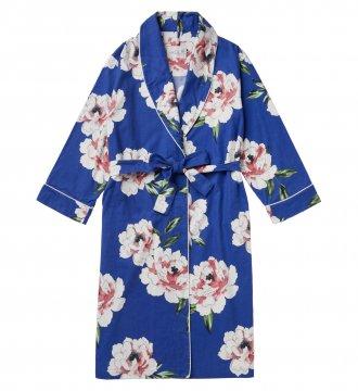 The Cat's Pajamas Women's Savannah Blue Pima Flannel Robe