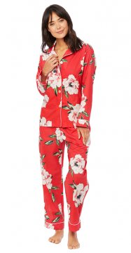 The Cat's Pajamas Women's Savannah Luxe Pima Classic Pajama Set in Red
