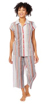 The Cat's Pajamas Women's Silver Lake Luxe Pima Capri Pajama Set