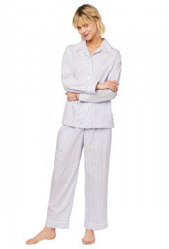 The Cat's Pajamas Women's Simple Stripe Luxe Pima Classic Pajama Set in Blue
