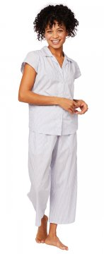 The Cat's Pajamas Women's Simple Stripe Luxe Pima Capri Pajama Set