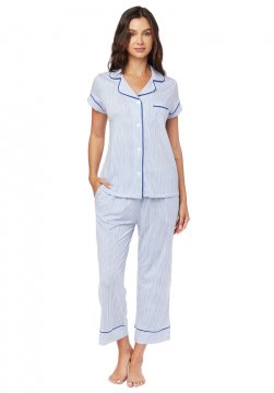 The Cat's Pajamas Women's Simple Stripe Pima Knit Capri Pajama Set in Blue