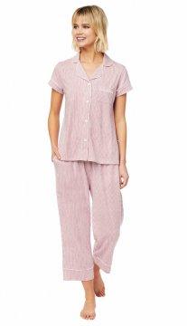 The Cat's Pajamas Women's Simple Stripe Pima Knit Capri Pajama Set in Red