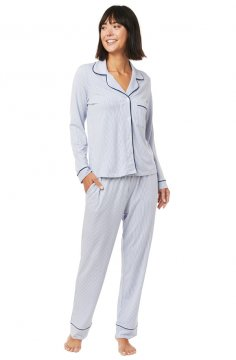 The Cat's Pajamas Women's Simple Stripe Pima Knit Classic Pajama Set