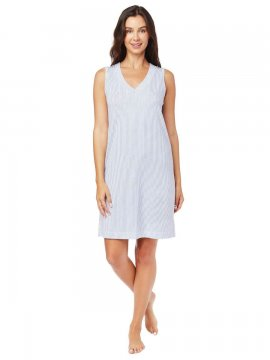 The Cat's Pajamas Women's Simple Stripe Pima Knit Nightgown in Blue