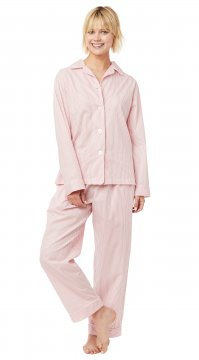 The Cat's Pajamas Women's Simple Stripe Luxe Pima Classic Pajama Set in Red