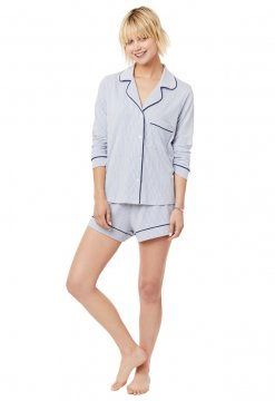 The Cat's Pajamas Women's Simple Stripe Pima Knit Long Sleeved Short Set