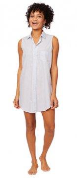 The Cat's Pajamas Women's Simple Stripe Luxe Pima Sleeveless Nightshirt