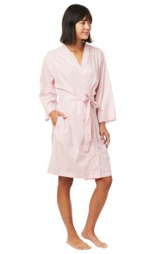 The Cat's Pajamas Women's Simple Stripe Luxe Pima Cotton Robe in Blue