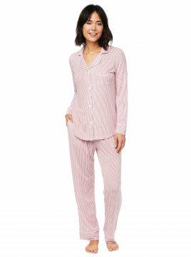 The Cat's Pajamas Women's Simple Stripe Pima Knit Classic Pajama Set in Red
