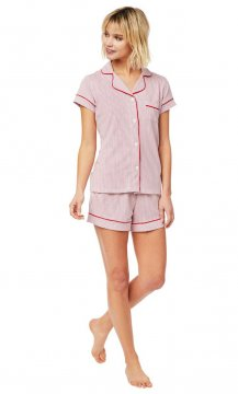The Cat's Pajamas Women's Simple Stripe Pima Knit Shorts Set in Red