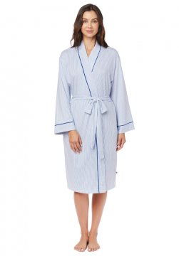 The Cat's Pajamas Women's Simple Stripe Pima Knit Robe in Blue