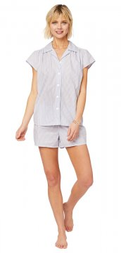 The Cat's Pajamas Women's Simple Stripe Luxe Pima Short Set