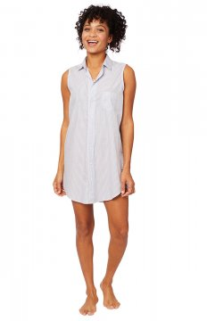 The Cat's Pajamas Women's Simple Stripe Luxe Pima Classic Sleeveless Nightshirt in Blue