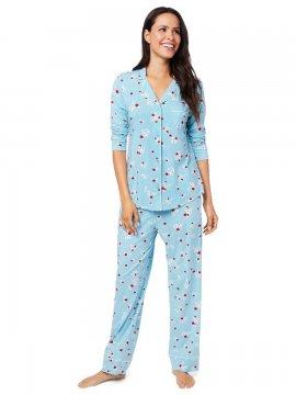 The Cat's Pajamas Women's Skye Pima Knit Classic Pajama Set
