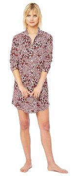 The Cat's Pajamas Women's Snow Leopard Pima Knit Nightshirt