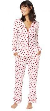 The Cat's Pajamas Women's Red Sprinkle Dots Cotton Knit Classic Pajama Set