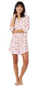 The Cat's Pajamas Women's Red Sprinkle Dots Cotton Knit Classic Nightshirt