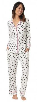 The Cat's Pajamas Women's Black Sprinkle Dots Cotton Knit Classic Pajama Set