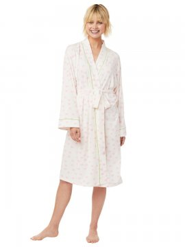 The Cat's Pajamas Women's Sprinkle Dots Pima Knit Robe in Pink