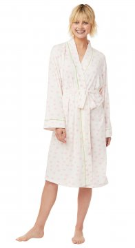 The Cat's Pajamas Women's Pink Sprinkle Dots Pima Knit Robe