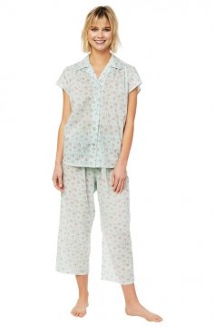 The Cat's Pajamas Women's Star Flower Voile Capri Pajama Set