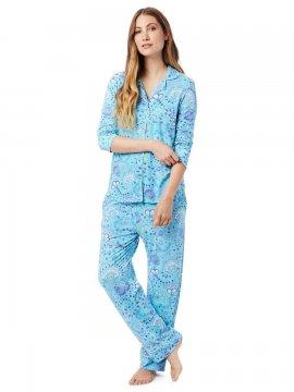 The Cat's Pajamas Women's Stella Pima Knit Classic Pajama Set