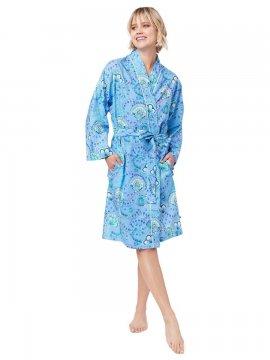 The Cat's Pajamas Women's Stella Luxe Pima Kimono Robe