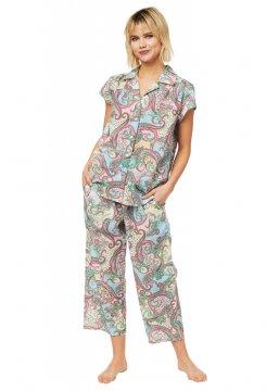 The Cat's Pajamas Women's Summer of Love Luxe Pima Capri Pajama Set