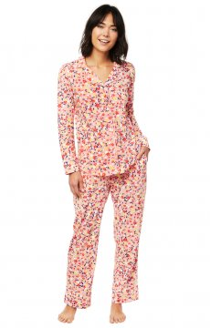 The Cat's Pajamas Women's Sunday Pima Knit Classic Pajama Set in Pink