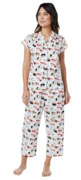 The Cat's Pajamas Women's Sushi Poplin Cotton Capri Pajama Set in White