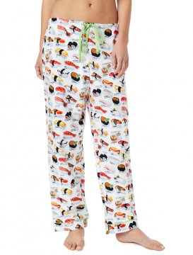 The Cat's Pajamas Women's Sushi Poplin Cotton Pajama Pant in White
