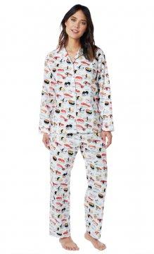 The Cat's Pajamas Women's Sushi Classic Poplin Cotton Pajama Set in White