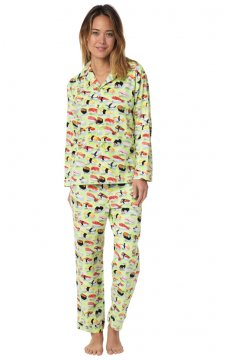 The Cat's Pajamas Women's Wasabi Sushi Flannel Classic Pajama Set in Green