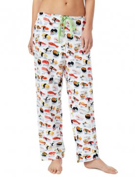 The Cat's Pajamas Women's Sushi Flannel Pajama Pant in White