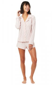 The Cat's Pajamas Women's Taos Pima Knit Long Sleeve Shorts Set