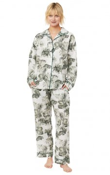The Cat's Pajamas Women's Tiger Toile Luxe Pima Classic Pajama Set