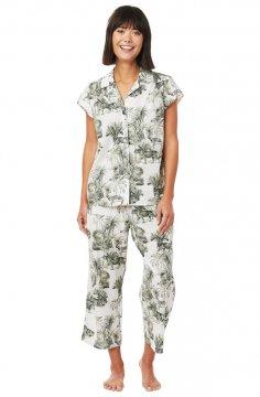 The Cat's Pajamas Women's Tiger Toile Luxe Pima Capri Pajama Set
